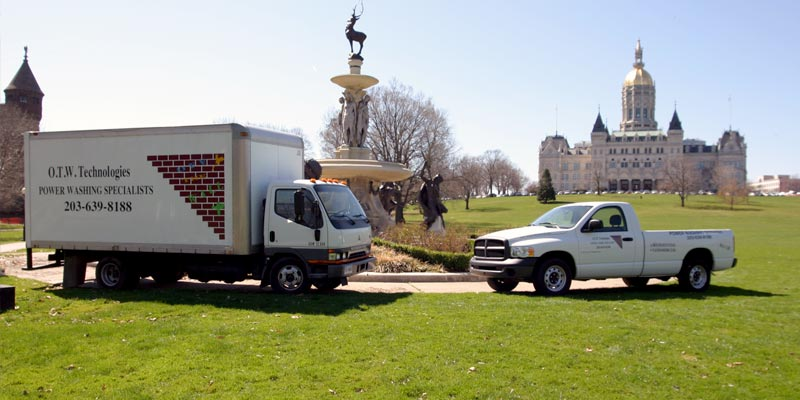 Off The Wall trucks parked in front of CT capitol in Hartford.